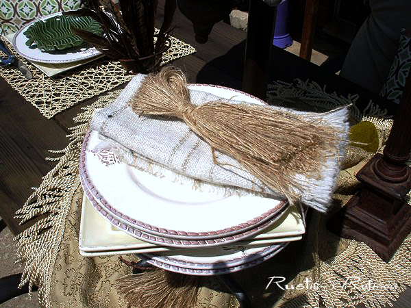rustic table set for eating