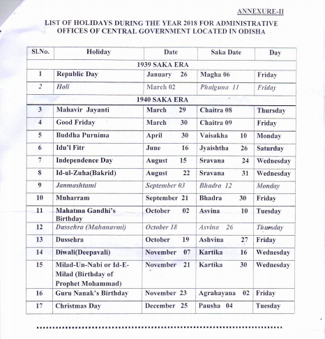 List Of Holidays Odisha Postal Circle Year 2018