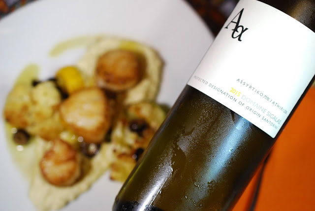Domaine Sigalas Assyrtiko-Athiri Santorini with Scallops, Roasted Veggies, and Preserved Lemon Cauliflower Cream. Recipe by Nicole Ruiz Hudson. Photo by Greg Hudson.