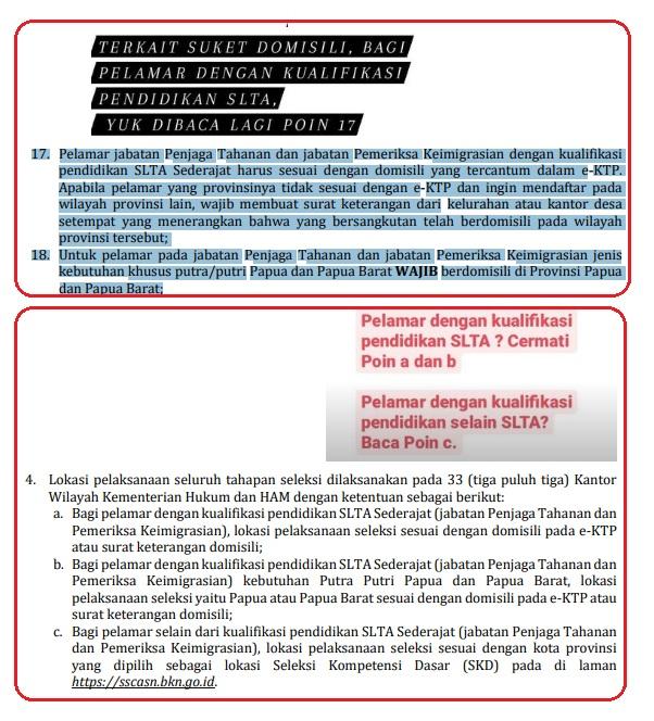 Terkait Suket Domisili dan Lokasi pelaksanaan Tes CPNS Kemenkumham Untuk SLTA dan Non SLTA