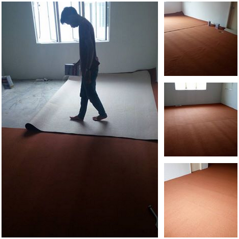 Contoh 6 : PEMASANGAN KARPET PEJABAT : Carpet: Roll | Design: Plain | Colour: Orange | Area: 650 sqft