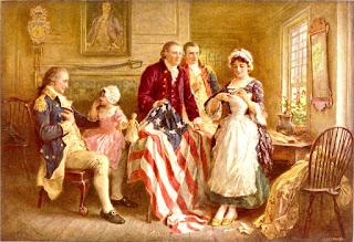 En casa de Betsy Ross, recogiendo la primera bandera de los Estados Unidos de América.