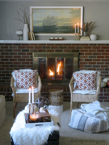 Fall Home Tour {2014} Orange Pillows and Fireplace