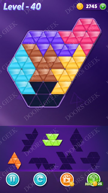 Block! Triangle Puzzle Intermediate Level 40 Solution, Cheats, Walkthrough for Android, iPhone, iPad and iPod