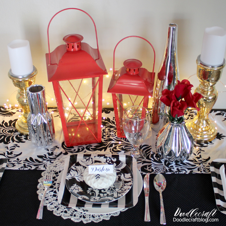 Diy Wedding Classic Black White Red Centerpieces And