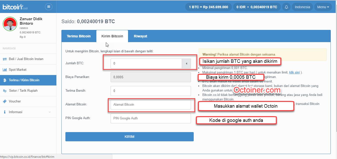 cara mengirim bitcoin ke octoin