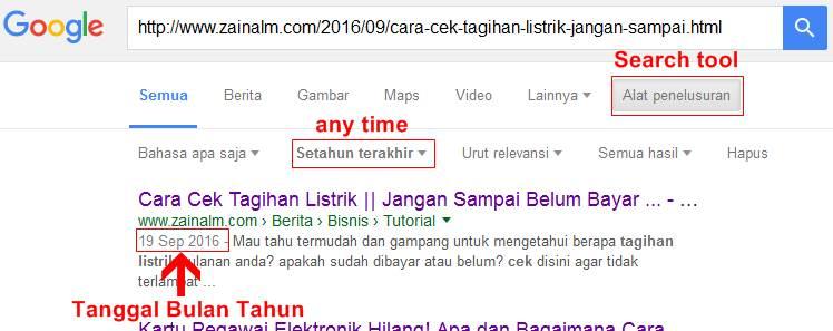 Cara Mengetahui umur artikel melalui LINK URL | search tool