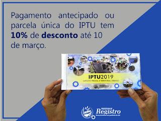 Prefeitura de Registro-SP concede desconto de 10% para pagamento do IPTU em Cota Única até 10 de março