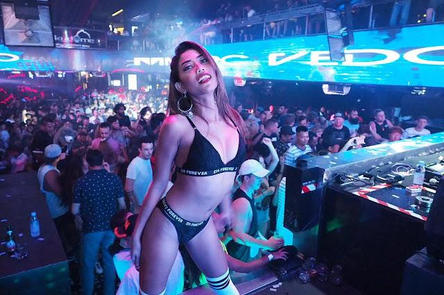 Striptease dance gogo girl nude on stage at public djset 6