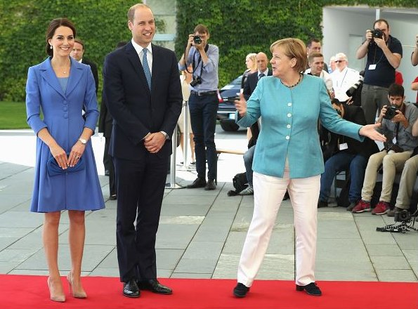 Angela Merkel. Kate Middleton wore a blue dress by Catherine Walker, Kiki McDonough Diamond Earrings, Gianvito Rossi Suede Pumps
