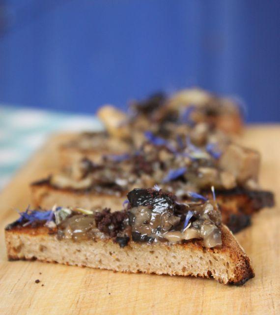 wild mushrooms on toast with tonka bean and grated chocolate, chocolate supper club, msmarmitelover