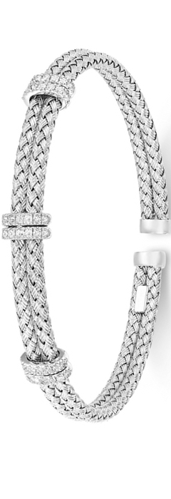 Diamond Mesh Bangle Bracelet White Gold