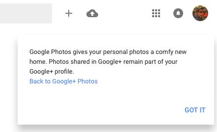 Google+ Photos Redirects to Google Photos