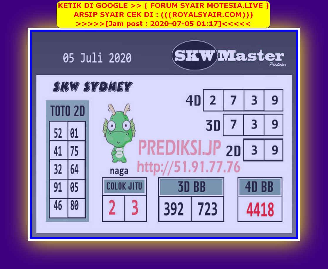 Kode syair Sydney Minggu 5 Juli 2020 208