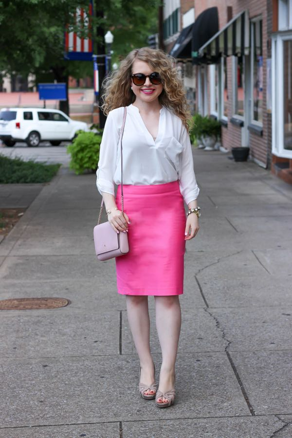 Pink Pencil Skirt, Lawyer Lookbook, Lawyer Fashion Blog