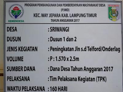 Desa Sriwangi Lampung Timur Gunakan Dana Desa Untuk Pembangunan