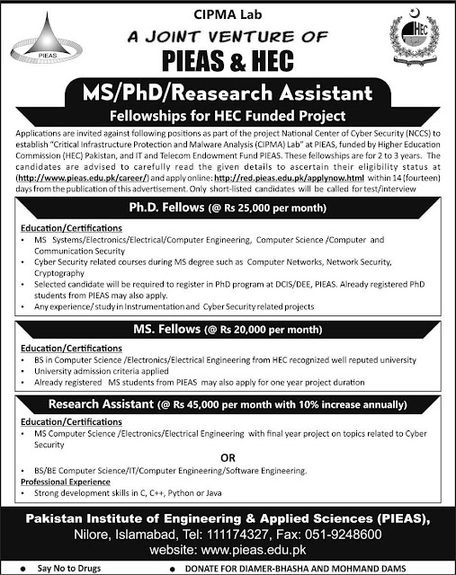 PIEAS MS/PhD Research Assistant ship