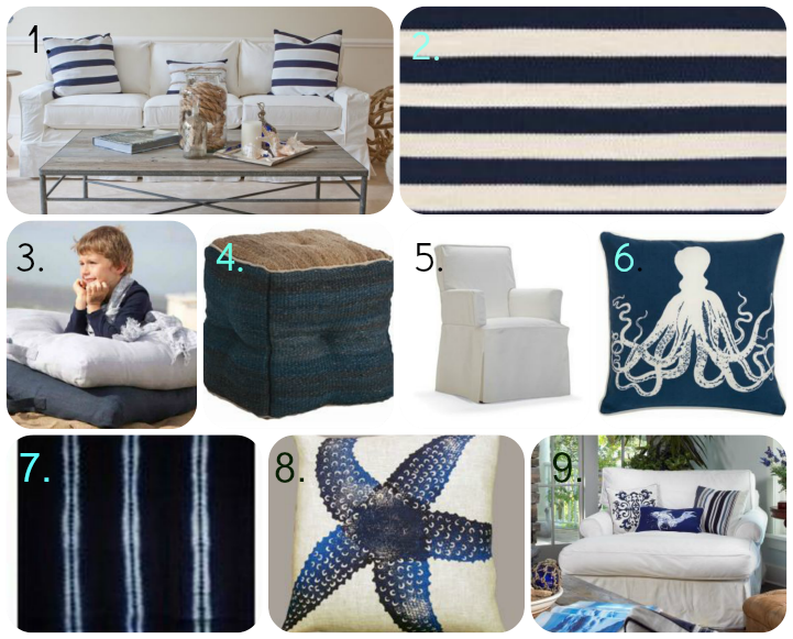Coastal blue & white furnishings