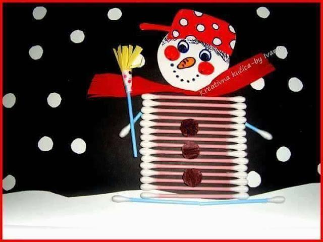 Ide membuat kreasi berbentuk manusia salju menggunakan cottonbud untuk anak-anak