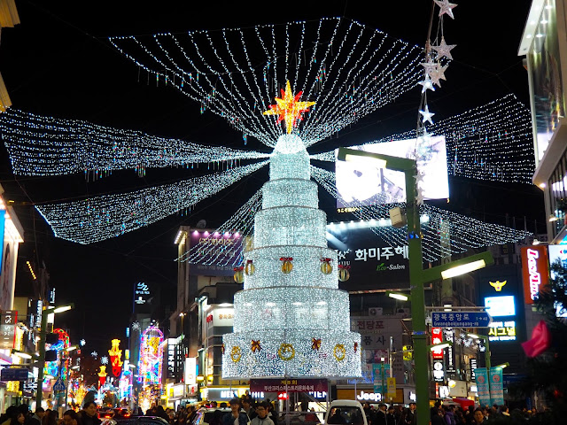 Giant centrepiece light up Christmas tree in Nampo, Busan, South Korea