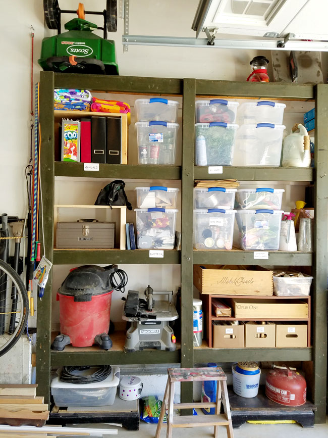 how to organize the shelves in the garage.