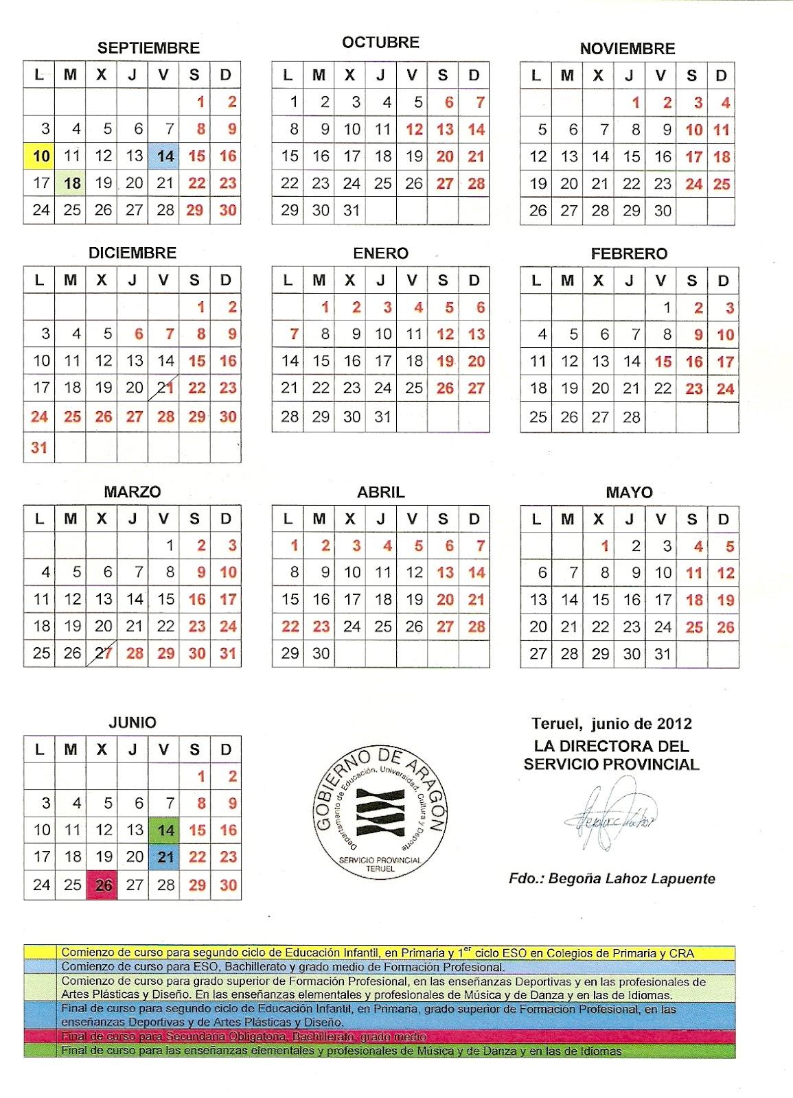 Aragon Calendario Escolar.Calendario Escolar Aragon 2012 13 Pdf