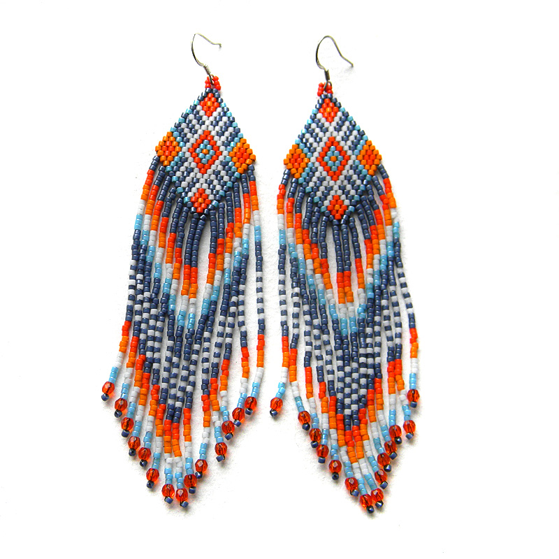 Colorful beaded earrings - ethnic style beadwork jewelry