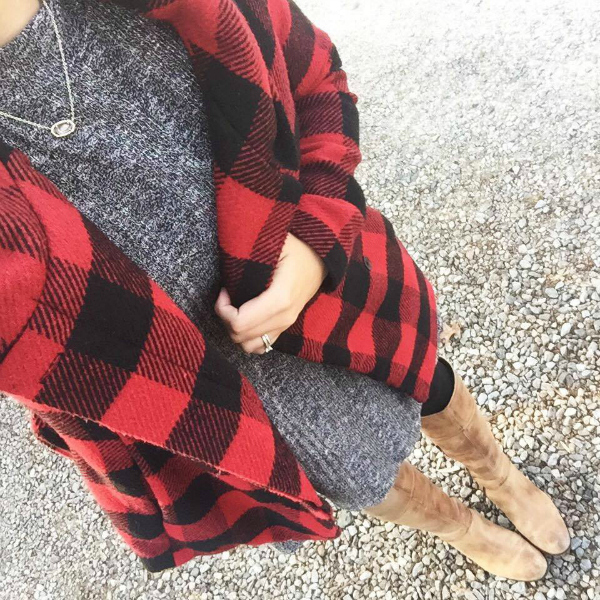 buffalo plaid coat, riding boots