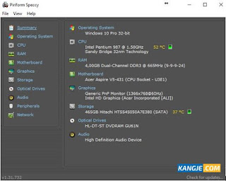 Hasil scanning hardware dan informasi ditampilkan lengkap di aplikasi Speccy
