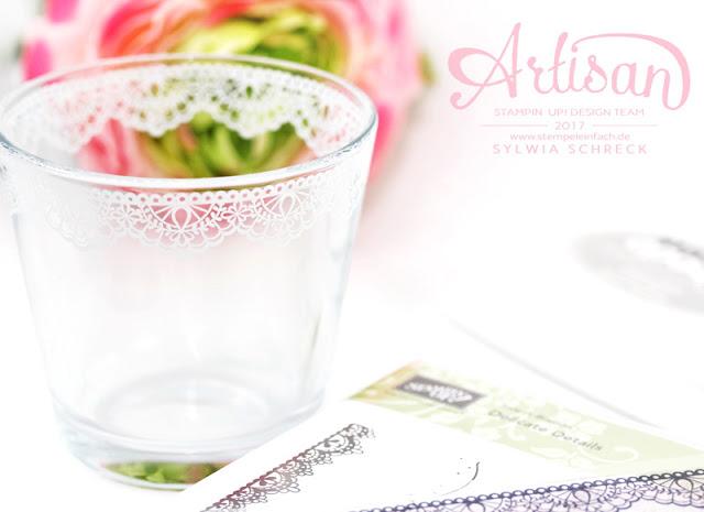 Gläser bestempeln Stampin Up Delicate Details