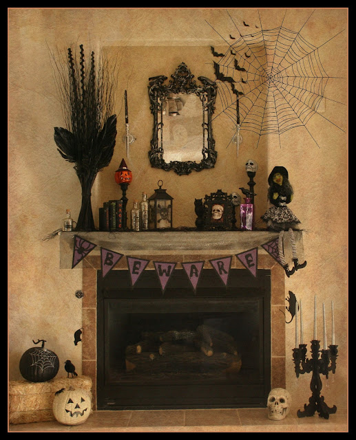 Fireplace Halloween Decorations: Fresh Cut Flours: Finally...some Halloween Decorations To