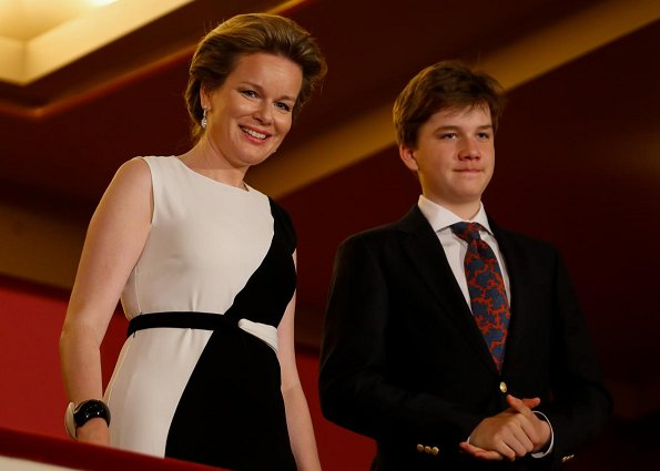 Queen Mathilde wore Carolina Herrera two-tone crepe dress