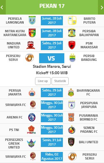 Jadwal Pertandingan & Siaran Langsung Liga 1 2017 Pekan #17