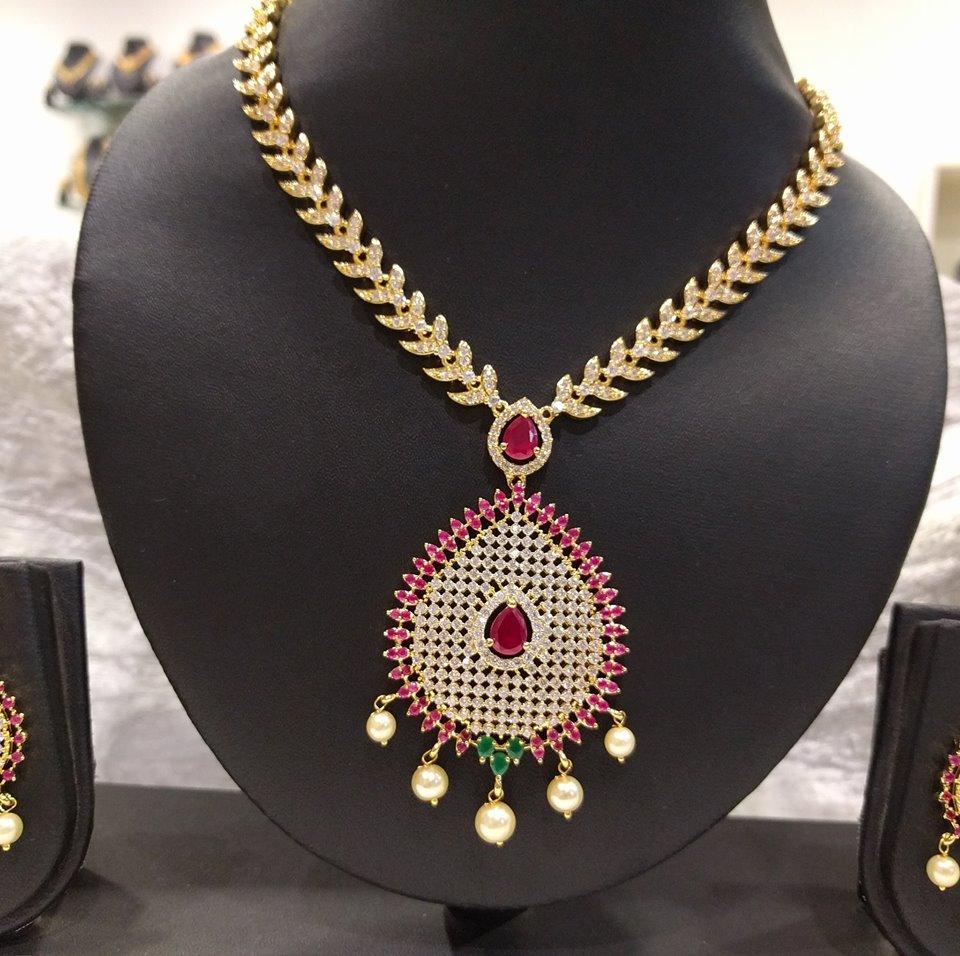 exclusive 1 gram gold cz necklace