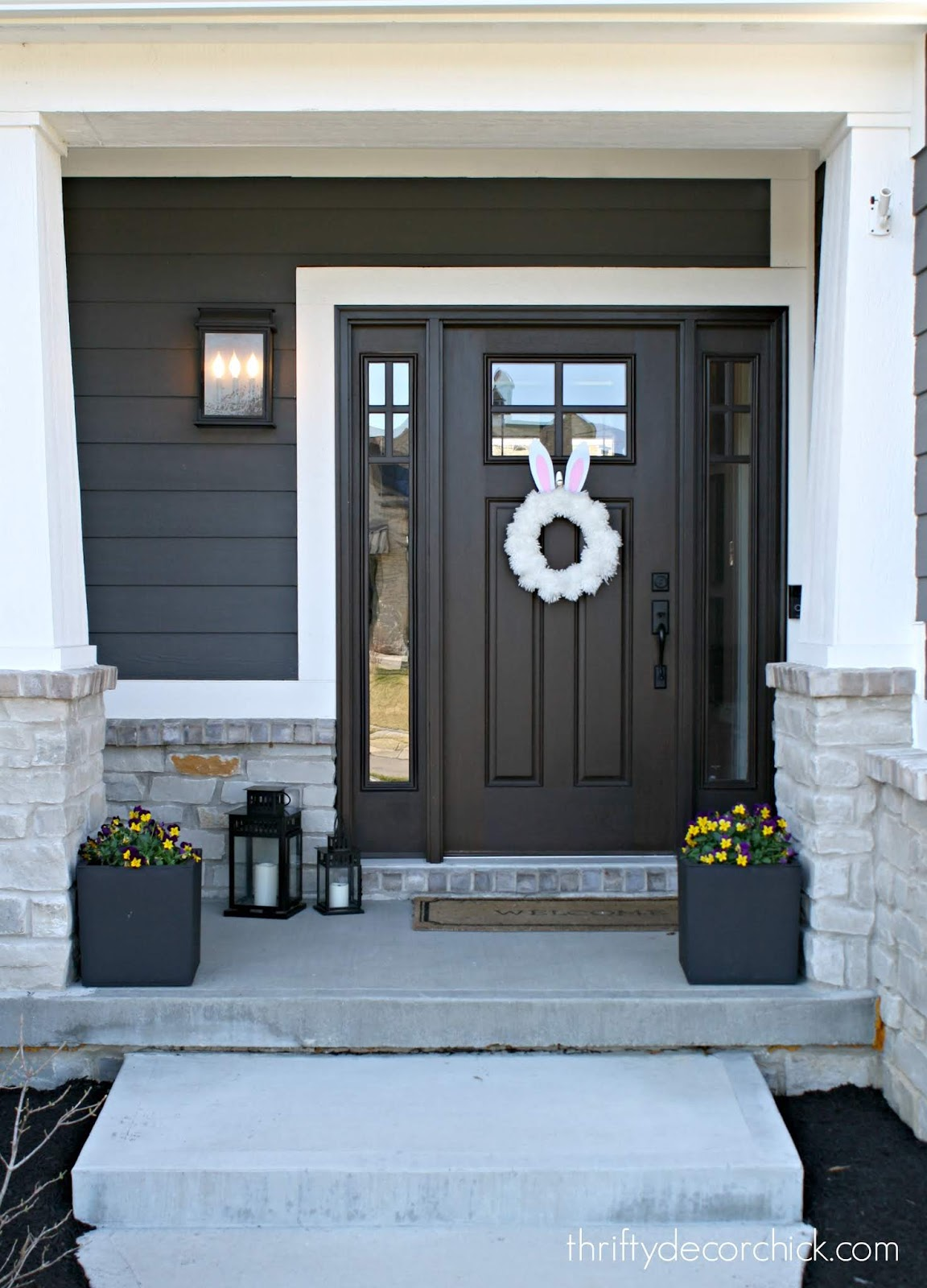 Craftsman style porch and doors with windows