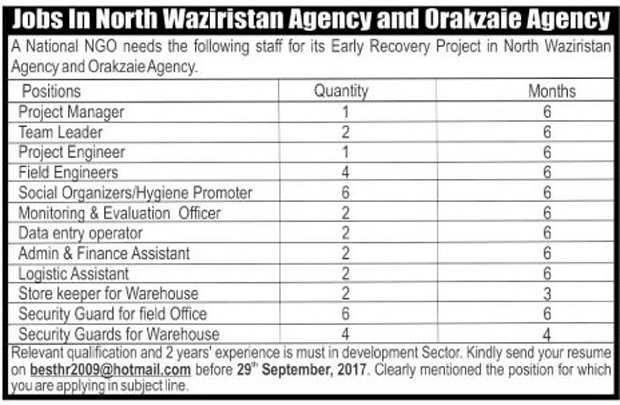 Jobs In National NGO North Waziristan Agency & Orakzaie Agency Sep 2017