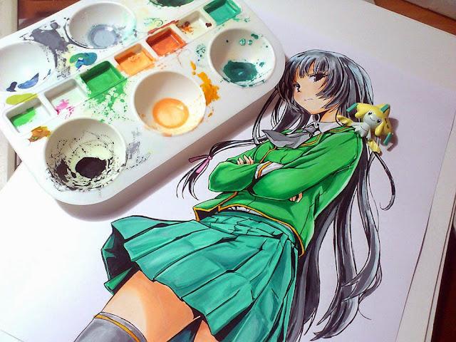 Namalowana Yozora Mikazuki z anime Boku wa Tomodachi ga Sukunai