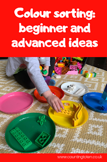 Ideas on how to use LEGO DUPLO for colour sorting activities for toddlers including advanced ideas for preschoolers