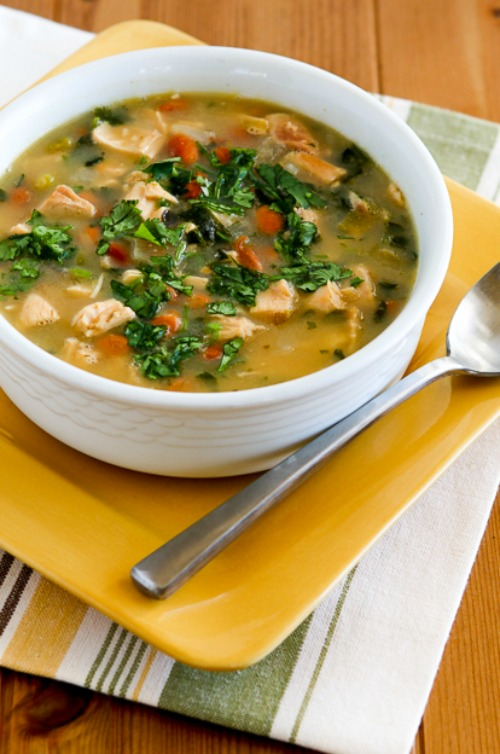 Chicken and Pinto Bean Soup Recipe with Lime and Cilantro found on KalynsKitchen.com