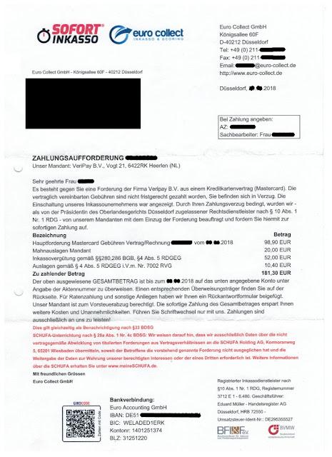 Scan: Beispiel einer Zahlungsaufforderung durch EURO COLLECT GMBH für VERIPAY B.V.