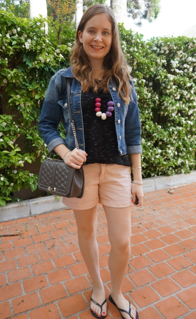 playgroup outfit denim jacket pastel shorts black marle tee rebecca minkoff love bag | awayfromblue