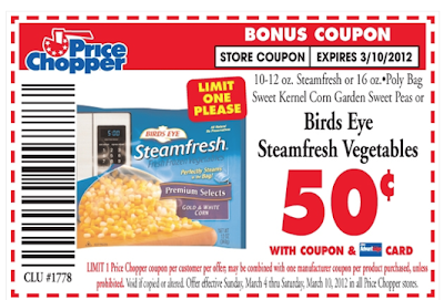 This coupon has reset for me yet again. Ex. 30 days from print (Print limit is 2) (Smartsource Coupon) Click here to print $1 on Any Two Birds Eye Steamfresh Items. The bar code on the coupon .