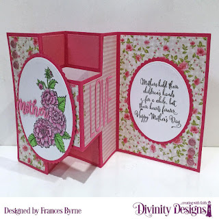 Divinity Designs Stamp Set: Daughter's Best Friend,  Custom Dies: Half Shutter Card with Layers, Ovals, Scalloped Ovals, Family Names 1, Long & Lean Letters,  Paper Collection: Pretty Pink Peonies