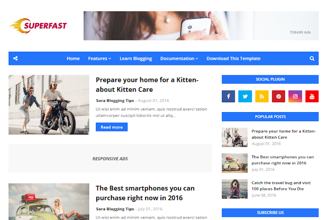 Download Free Premium Superfast Blogger Template - No Footer Credits, No Redirect & No Encrypted Scripts