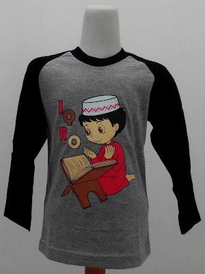 Kaos Raglan Anak Muslim Iqro Abu-Abu