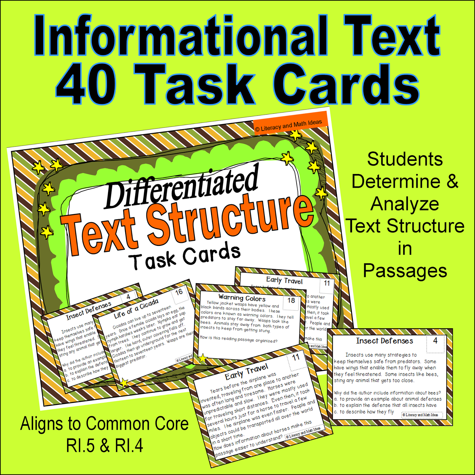Literacy & Math Ideas: Text Structure Task Cards