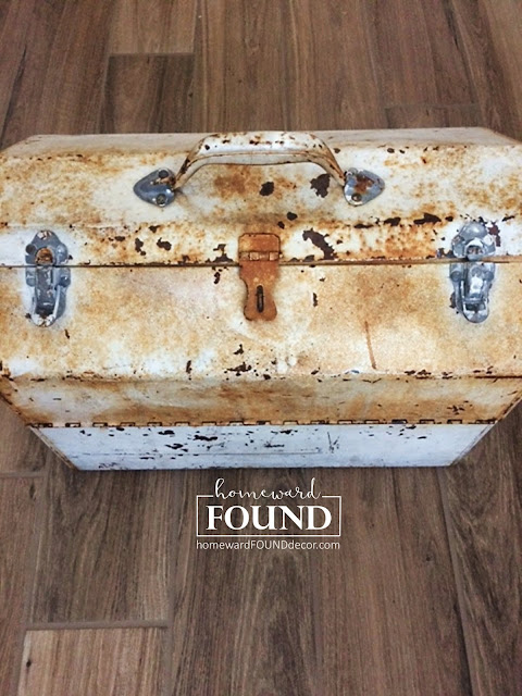 rusty metal toolbox upcycle home decor