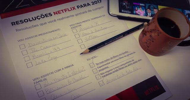 Foto das minhas resoluções Netflix para 2017 preenchidas.