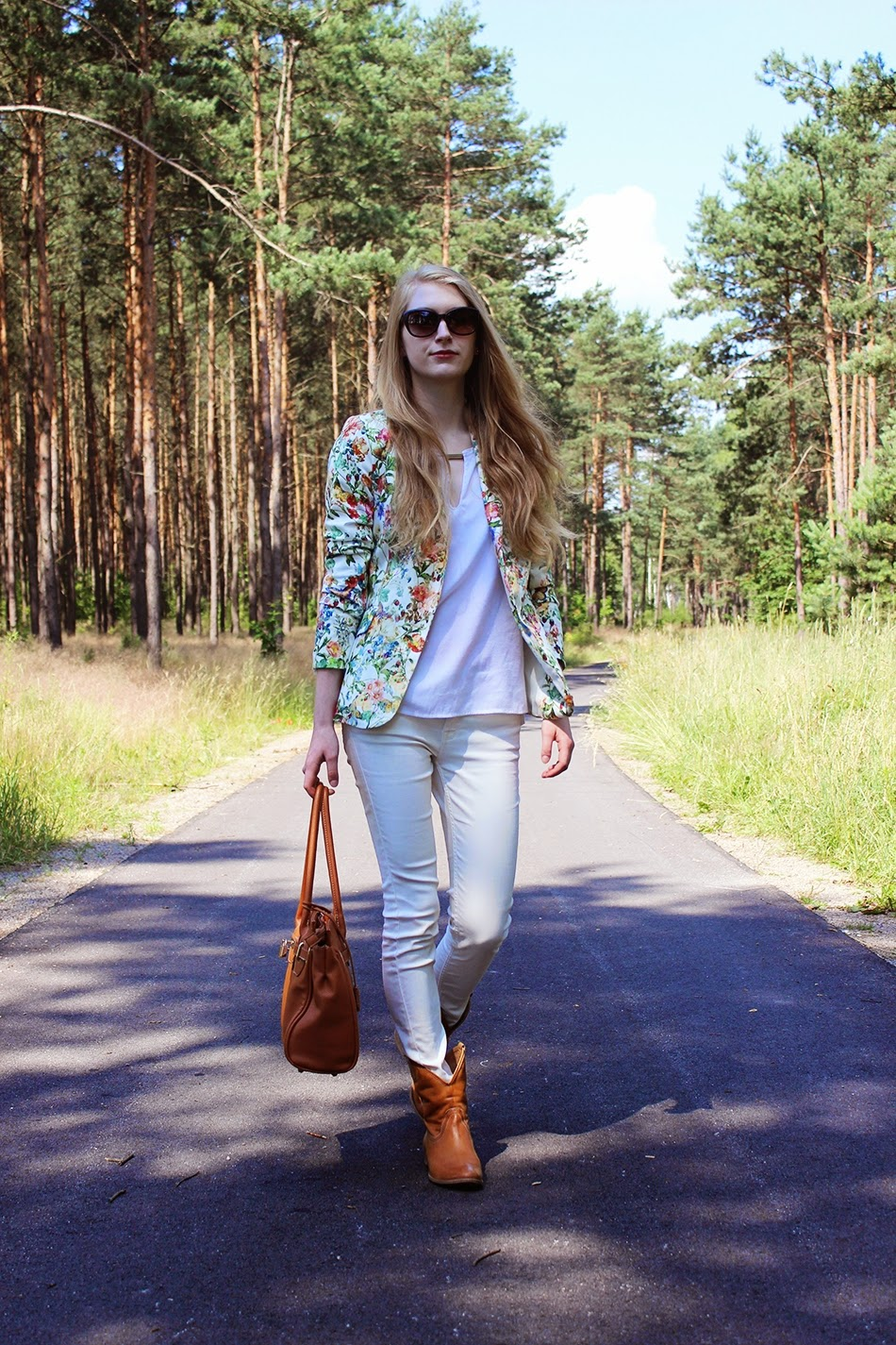 Floral Jacket White Jeans