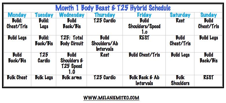 Body Beast/ T25 Month 1 Workout Schedule | Melanie Mitro